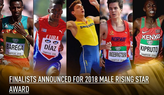 Jakob nominert til 2018 IAAF Male Rising Star